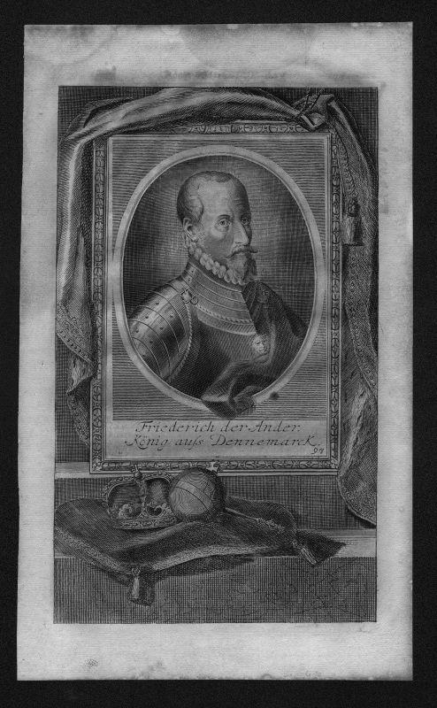 1720 - Friedrich II König von Dänemark Norwegen engraving Kupferstich Portrait