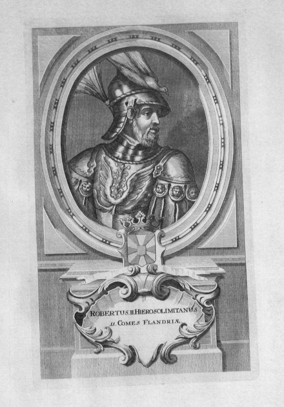 1735 - Robert II. von Jerusalem Flandern Portrait gravure engraving Kupferstich