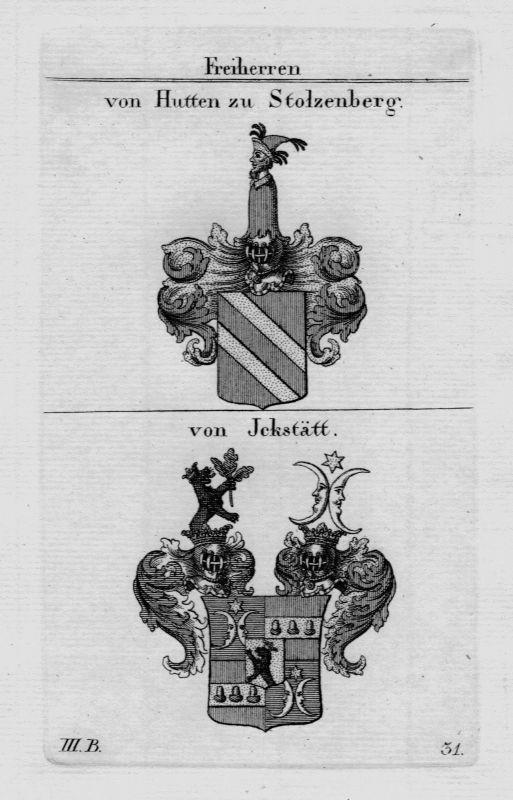 1820- Hutten Stolzenberg Jckstätt Wappen Adel coat of arms heraldry Kupferstich