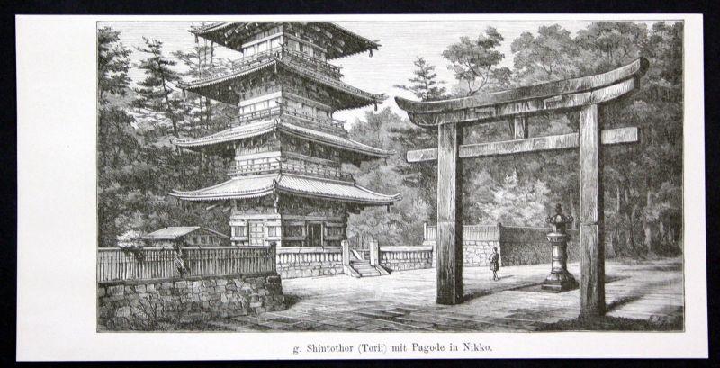 1880 Shinotothor (Torii) Pagode Nikko Japan Shinto Tor Asien Asia antique print