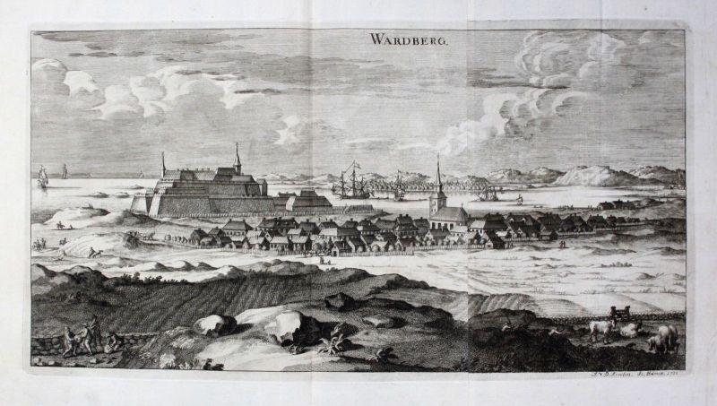 1710 - Varberg Hallands sweden Schweden Kupferstich Dahlberg engraving