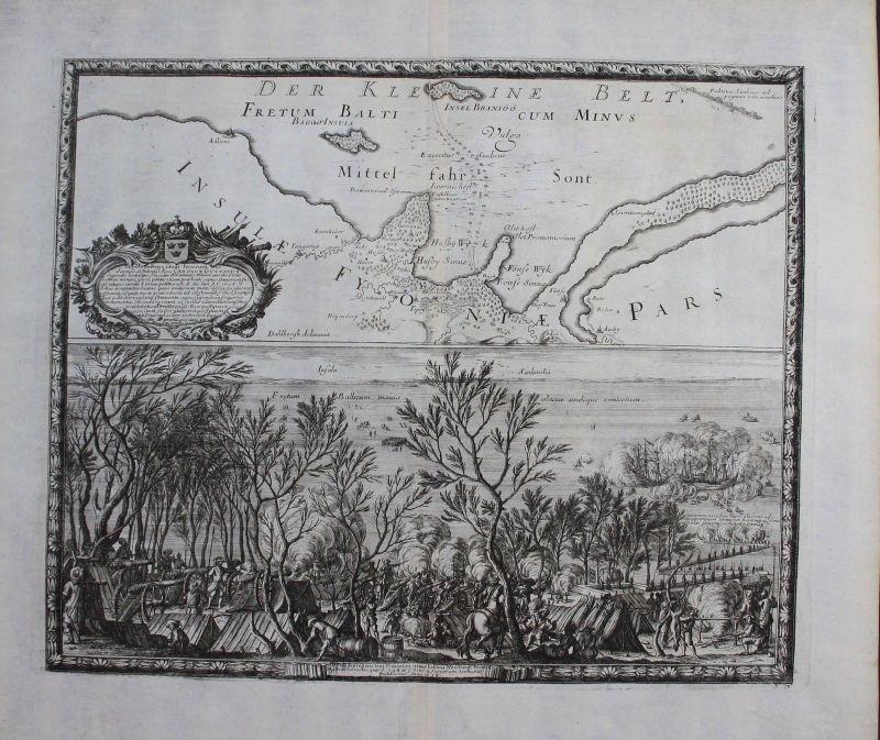 1696 - Little Belt Lillebaelt Dänemark Denmark Kupferstich engraving Pufendorf