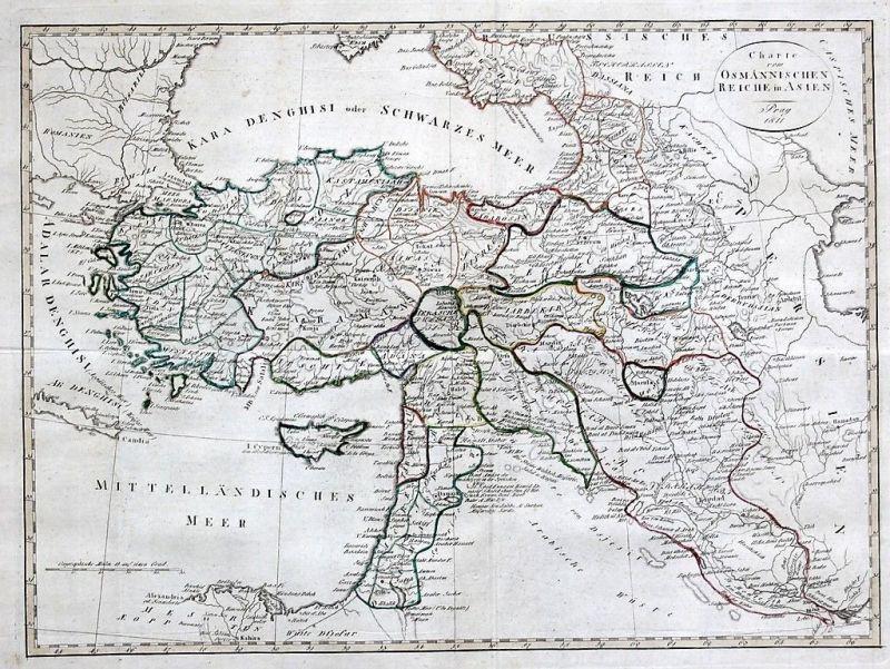 1811 - Turkey Cyprus Türkei Zypern map Karte Asien Asia carte engraving gravure