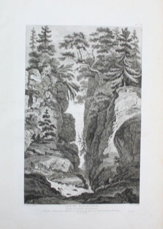 1780 - Renggloch Schlucht Renggbach Kriens gravure Kupferstich Zurlauben