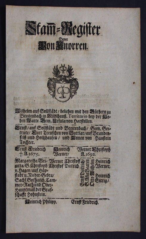 1720 - Knorr Siebleben Ahnentafel Stammbaum Genealogie Wappen family tree