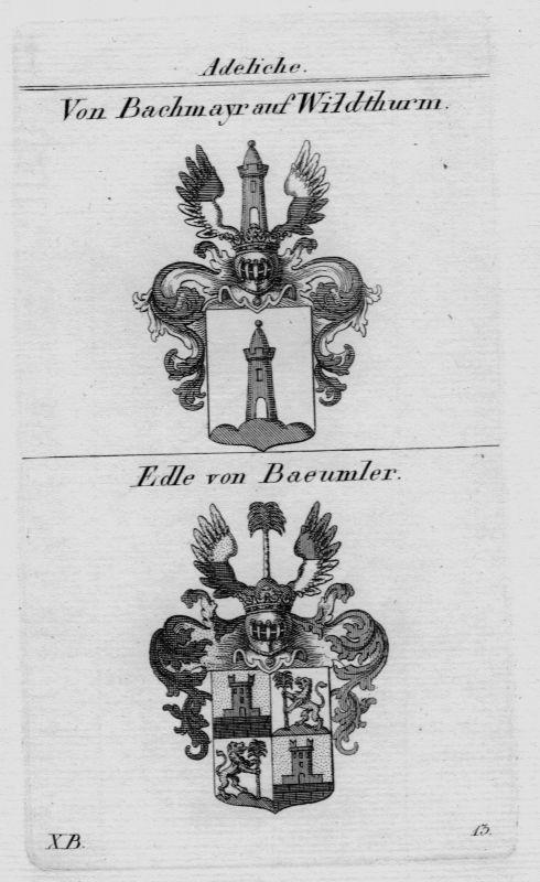 1820 - Bachmayr Baeumler Wappen Adel coat of arms heraldry Heraldik Kupferstich