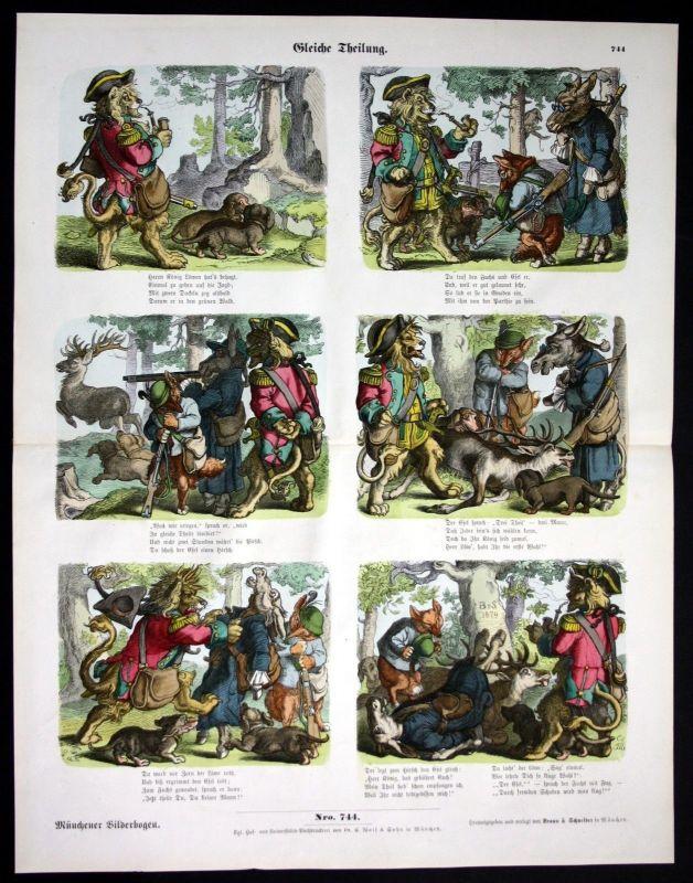 1890 Jagd Tiere Karikatur Jägerei Münchener Bilderbogen Bildergeschichte