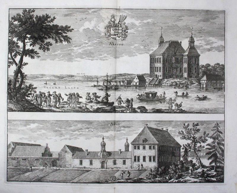 1710 - Akerö Adö Flens Södermanland sweden Kupferstich Dahlberg engraving
