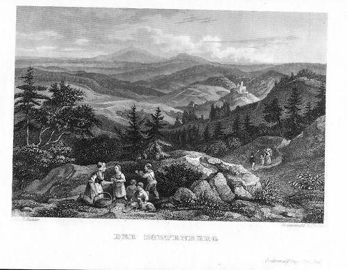 1840  Zobtenberg Sleza Polen Poland Original Stahlstich