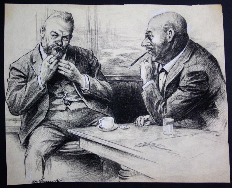 1920 Zeichnung München signiert Franck Männergespräch Zigarre Geschäft Rauchen