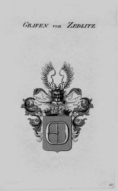 1820 - Zedlitz Wappen Adel coat of arms heraldry Heraldik crest Kupferstich