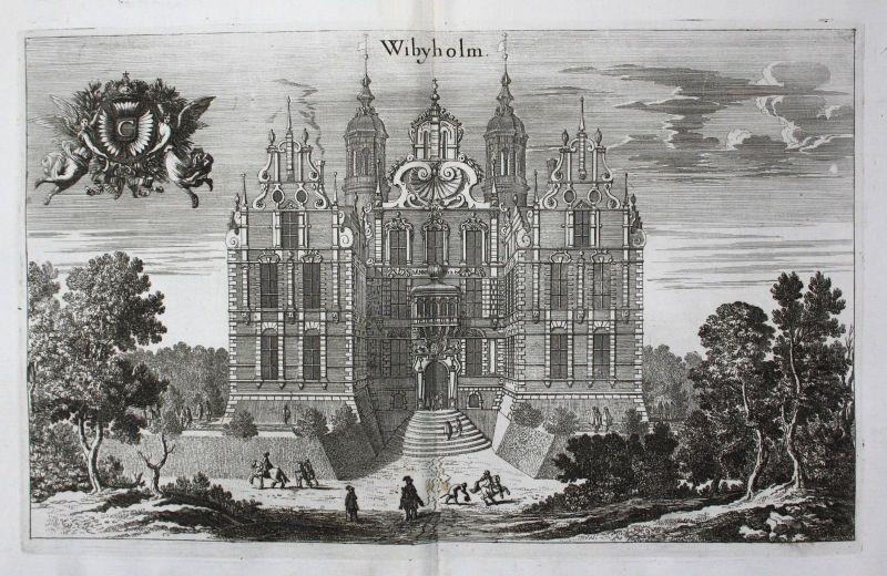 1710 - Vibyholm slott Flens Södermanland Kupferstich Dahlberg engraving