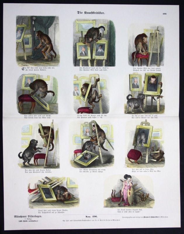 1890 Kunst Kritiker Künstler Maler Affe Hund Bilder Münchener Bilderbogen