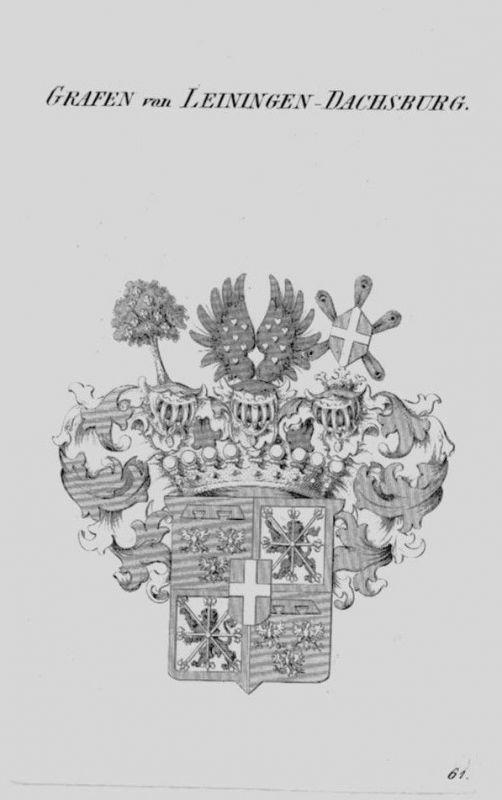 1820 Leiningen Dachsburg Wappen Adel coat of arms heraldry Heraldik Kupferstich