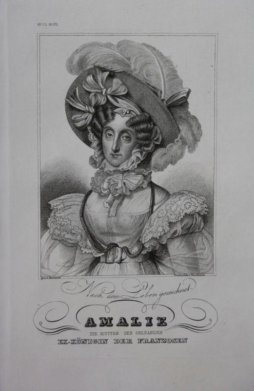 1850 - Maria Amalie Königin Frankreich France engraving Stahlstich Portrait