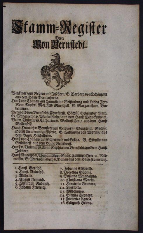 1720 - Bernstedt Carlowitz Ahnentafel Stammbaum Genealogie Wappen family tree