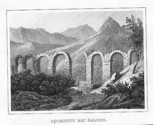 1840 - Solin Croatia Kroatien engraving Stahlstich