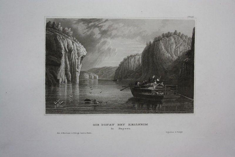 1840 - Donau Kelheim Bayern engraving Stahlstich