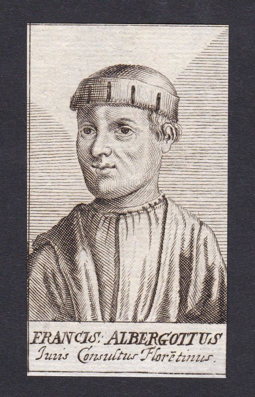 17. Jh. - Francesco Albergotti / consultant Berater Firenze Portrait Kupferstich