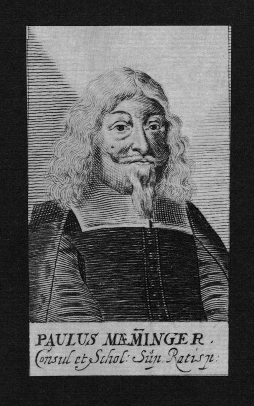 1680 - Paulus Maeminger Jurist lawyer Professor Regensburg Kupferstich Portrait