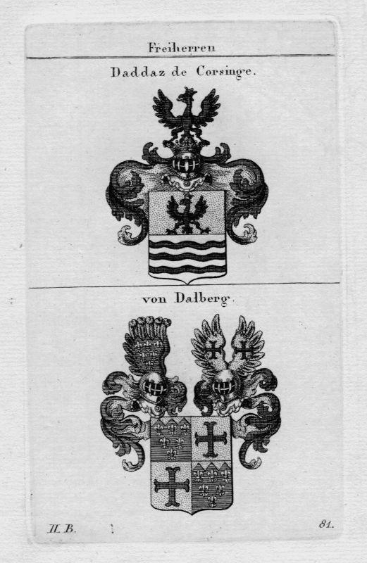 1820 Daddaz Corsinge Dalberg Wappen Adel coat of arms Heraldik crest Kupferstich
