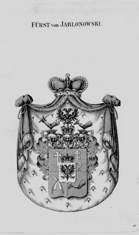 1820 - Jablonowski Wappen Adel coat of arms heraldry Heraldik crest Kupferstich