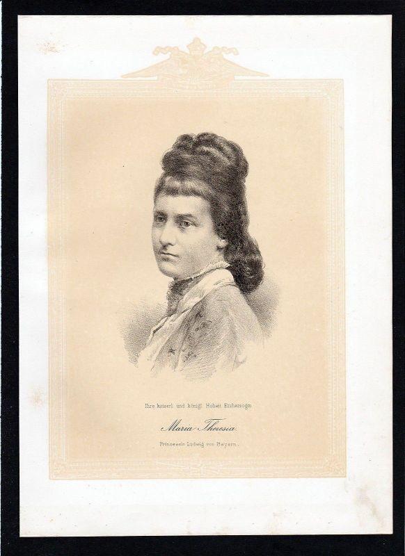 1875 - Marie Therese von Österreich Este Erzherzogin Prinzessin Lithographie