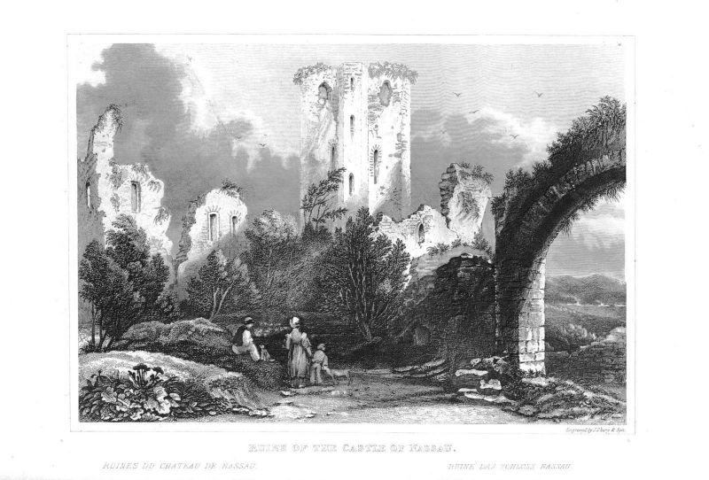 1840 - Burg Nassau Ruinen Lahn Stahlstich engraving Original