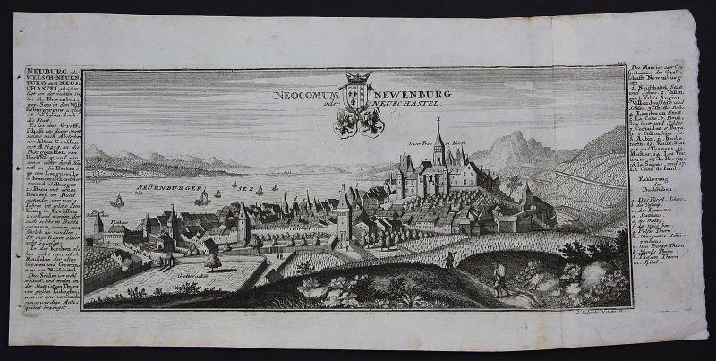 1700 Neuenburg Neuchatel Neuenburgersee Gesamtansicht Kupferstich Bodenehr