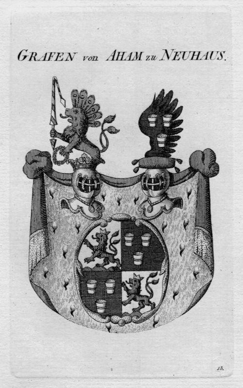 1820 - Aham Neuhaus Wappen Adel coat of arms heraldry Heraldik crest Kupfe 80432