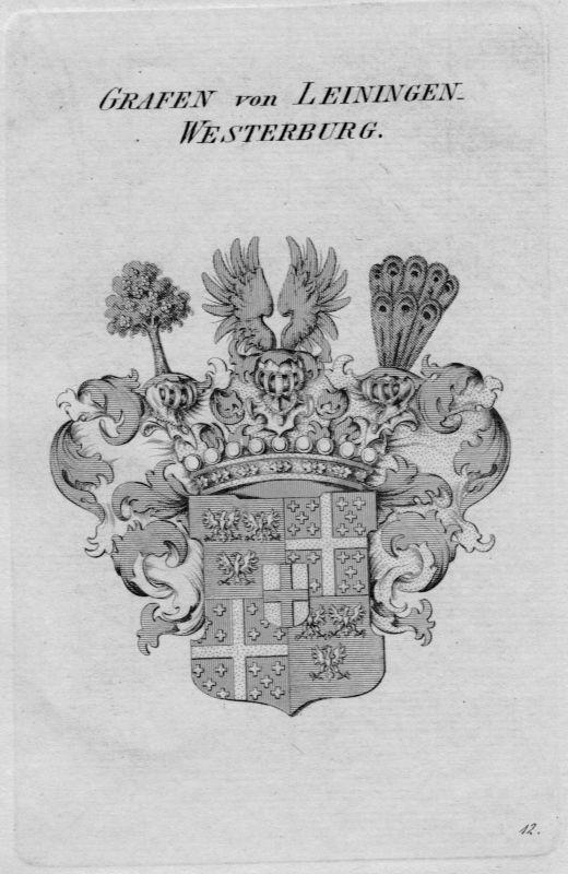 1820 Leiningen-Westerburg Wappen Adel coat of arms heraldry Heraldik Kupferstich