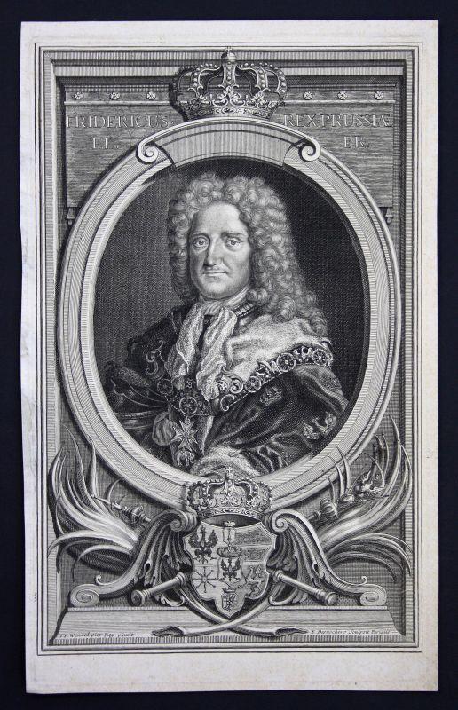 18. Jh. Friedrich I. Preußen König Portrait Kupferstich antique print Desrochers