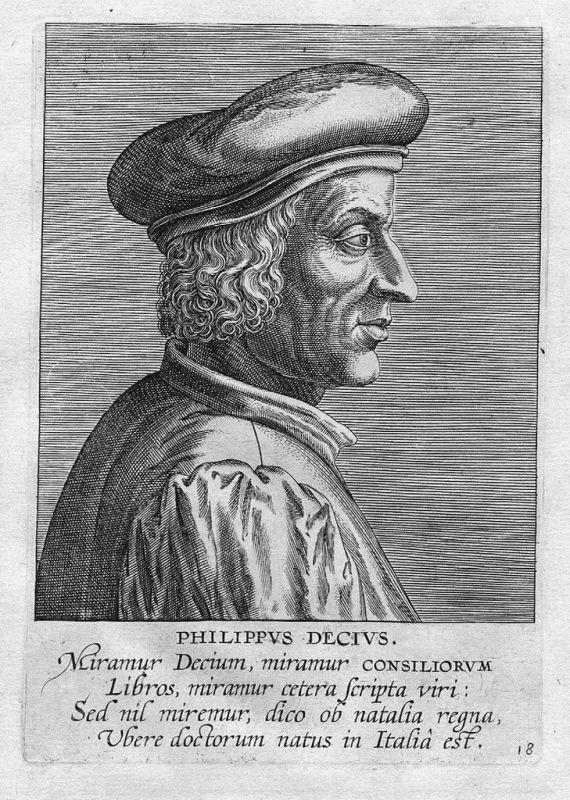 1610 - Philippus Decius Jurist Italia Kupferstich Portrait engraving