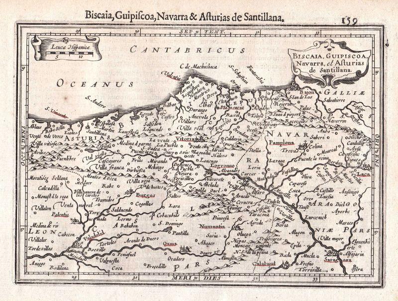 1628 Navarra Gipuzkoa Guipúzcoa Asturia Biskaya Spanien Spain Espana Mercator