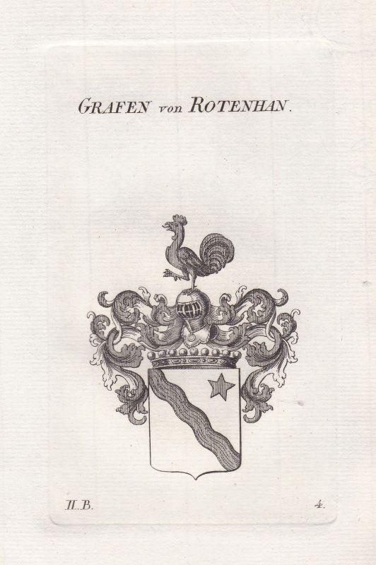Rotenhan Franken Wappen coat of arms heraldry Heraldik Kupferstich antique print