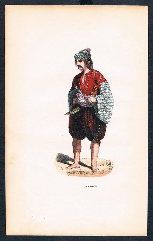 1840 - Bulgare Bulgarien Bulgaria Tracht Trachten costumes Graphik handkoloriert