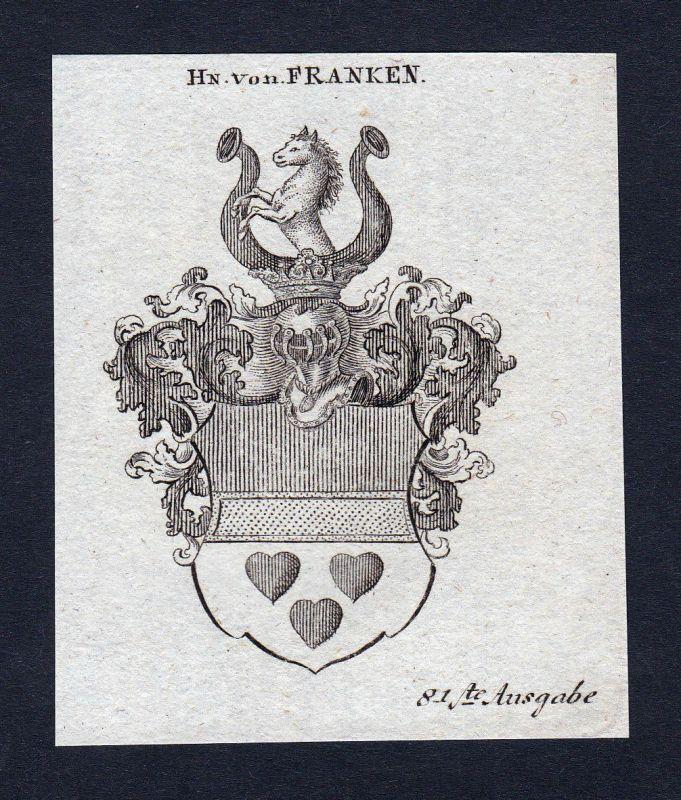 1820 Franken Frankenland Wappen Adel coat of arms Heraldik Kupferstich engraving