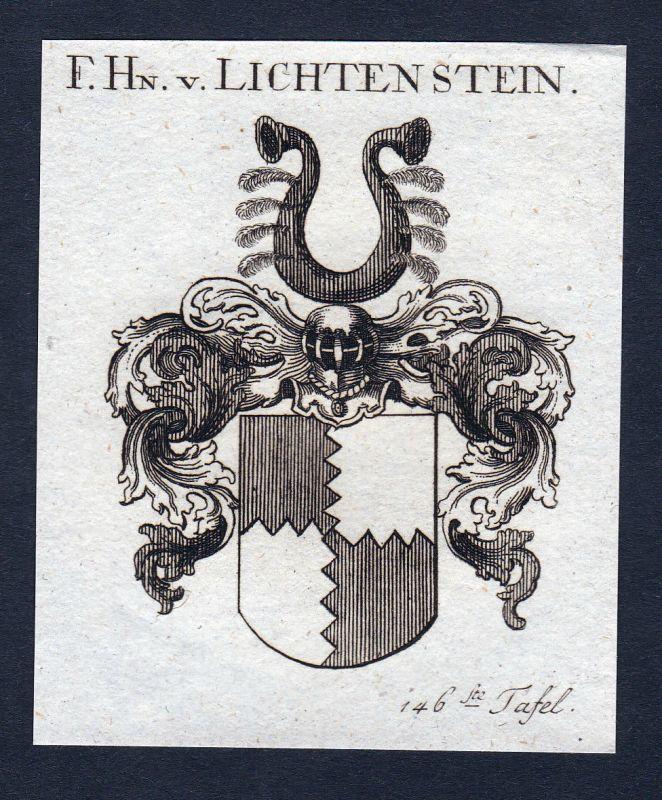1820 Lichtenstein Franken Wappen Adel coat of arms Kupferstich engraving