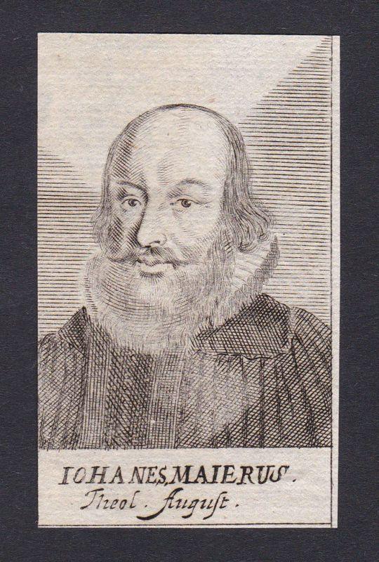 17. Jh. Johann Maier / theologian Theologe Augsburg Portrait Kupferstich
