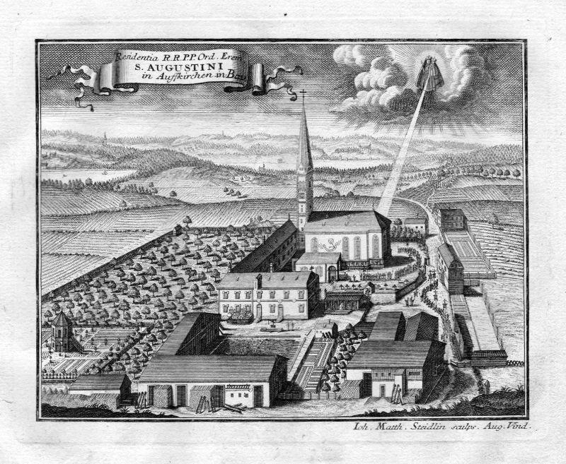1731 Kloster Aufkirchen Bayern Augustiner Augustinereremiten Kupferstich