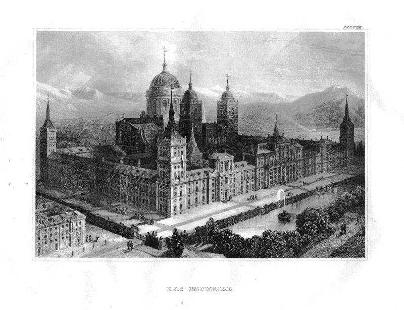 1840 - Real Sitio San Lorenzo de El Escorial Madrid Spain Stahlstich engraving