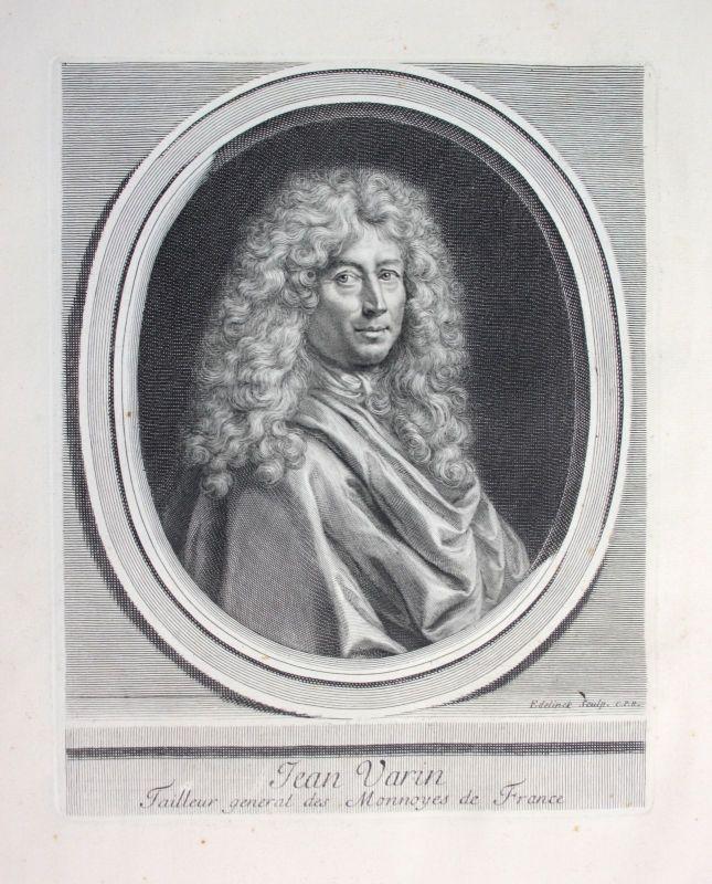 Ca. 1700 Jean Varin Warin sculpteur Bildhauer graveur Zeichner Portrait gravure