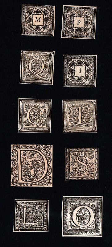 Ornament Kupferstich Buchstaben copper engraving letters lettres ca. 1700