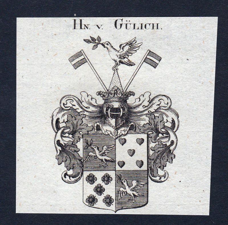 1820 Gülich Guelich Wappen Adel coat of arms Heraldik Kupferstich engraving