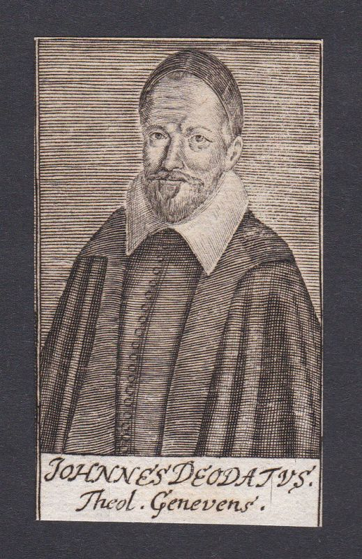 17. Jh. Johannes Deodatus / theologian Theologe Genf Portrait Kupferstich