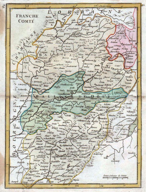 1767 France carte gravure Besancon Karte map Kupferstich antique print Le Rouge