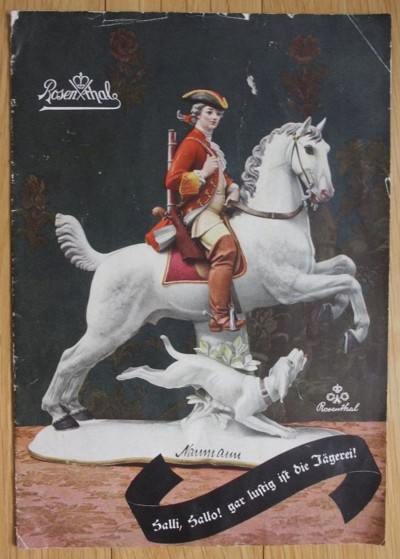1939 Rosenthal Porzellan Prospekt Preisliste Katalog Jagd Jägerei