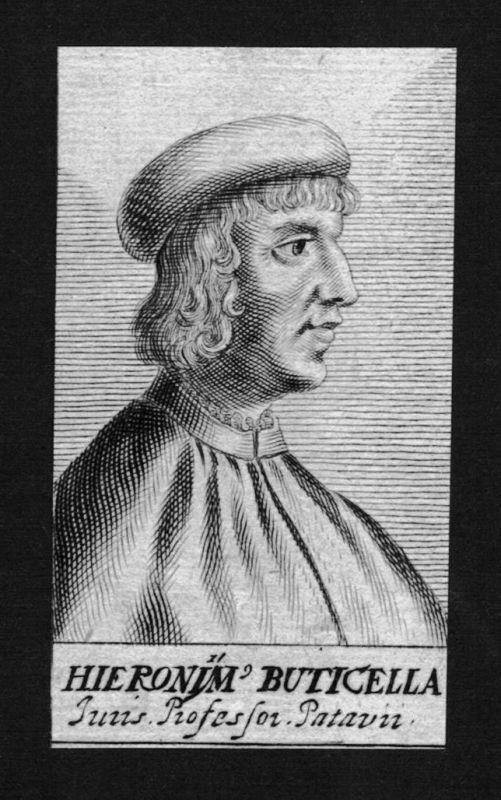 1680 - Girolamo Buticella Gelehrter Jurist lawyer Italien Kupferstich Portrait