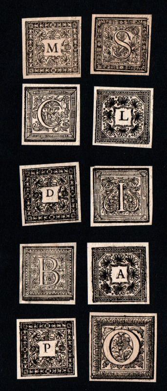 Konvolut 10 Ornament Kupferstich Buchstaben antique print letters ca. 1700