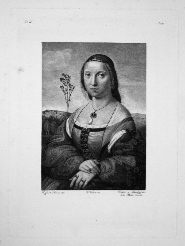 1840 - Raffaello Sanzio da Urbino Madeleine Strozzi Radierung engraving gravure